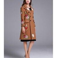 Осень зима Новый Для женщин Embroimdery Повседневное полушерстяные Тренч Oversize кашемировые пальто кардиган длинное пальто с поясом