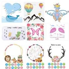 Фон для фотосъемки новорожденных, одеяла, воздушный шар, напечатанный тканевый фон для маленьких мальчиков и девочек, ежемесячные фото-наклейки