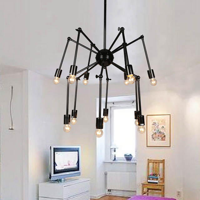 Modern Variety Spider Red Pendant Lights Retractable Simple Personality  Stylish Living 8/12head Black Study