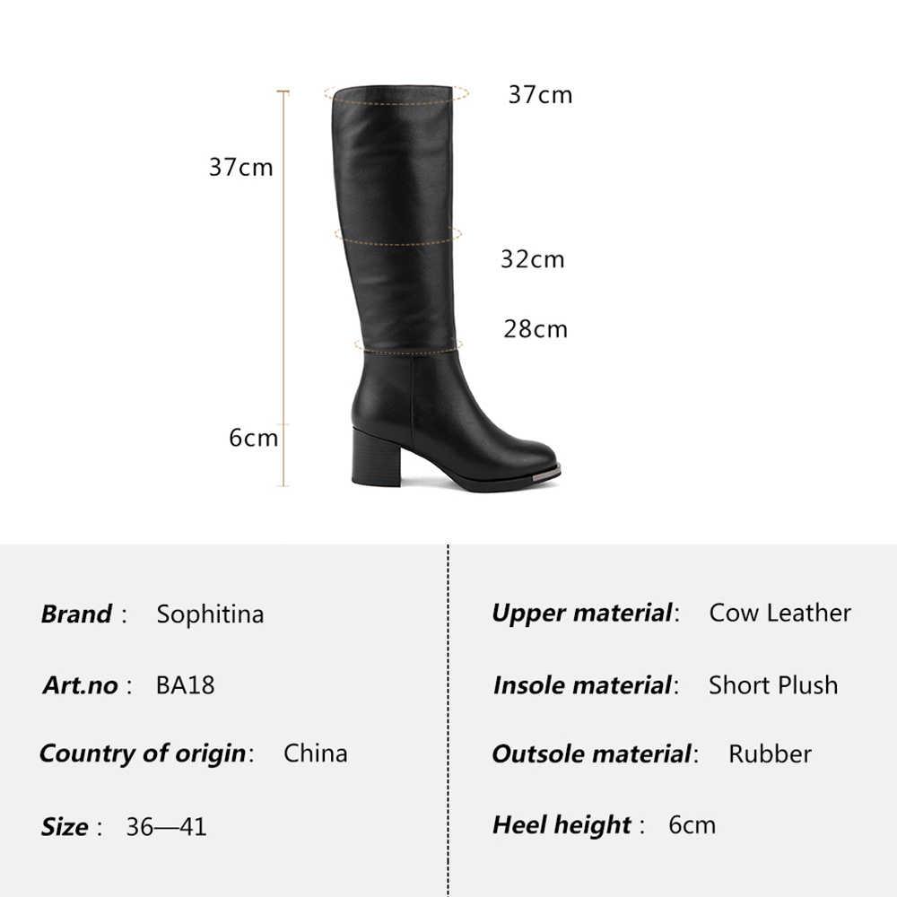 SOPHITINA kış kadın hakiki deri çizmeler moda fermuar yuvarlak ayak diz yüksek ayakkabı zarif süper kare yüksek topuk çizmeler BA18