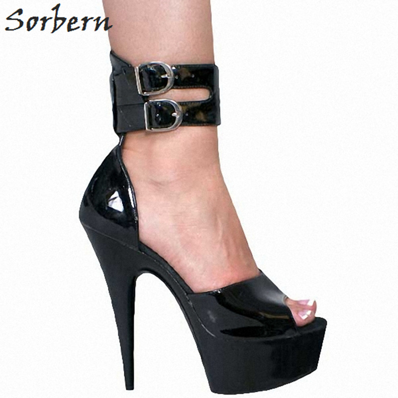 Sorbern Fashion Black Shiny Pu Colorful Shoes Tie Up Heels Diy Off White Shoes Platform High Heels 15Cm Melissa Shoes For Women