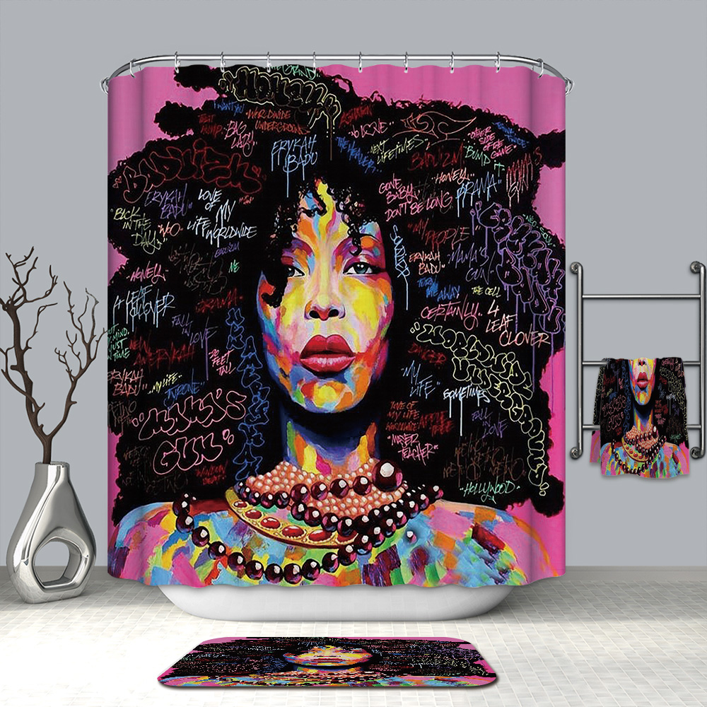 3D Beautiful Oil Paint Girl Shower Curtains Fashion African Waterproof Mildew Proof Thickened Bath for Bathroom