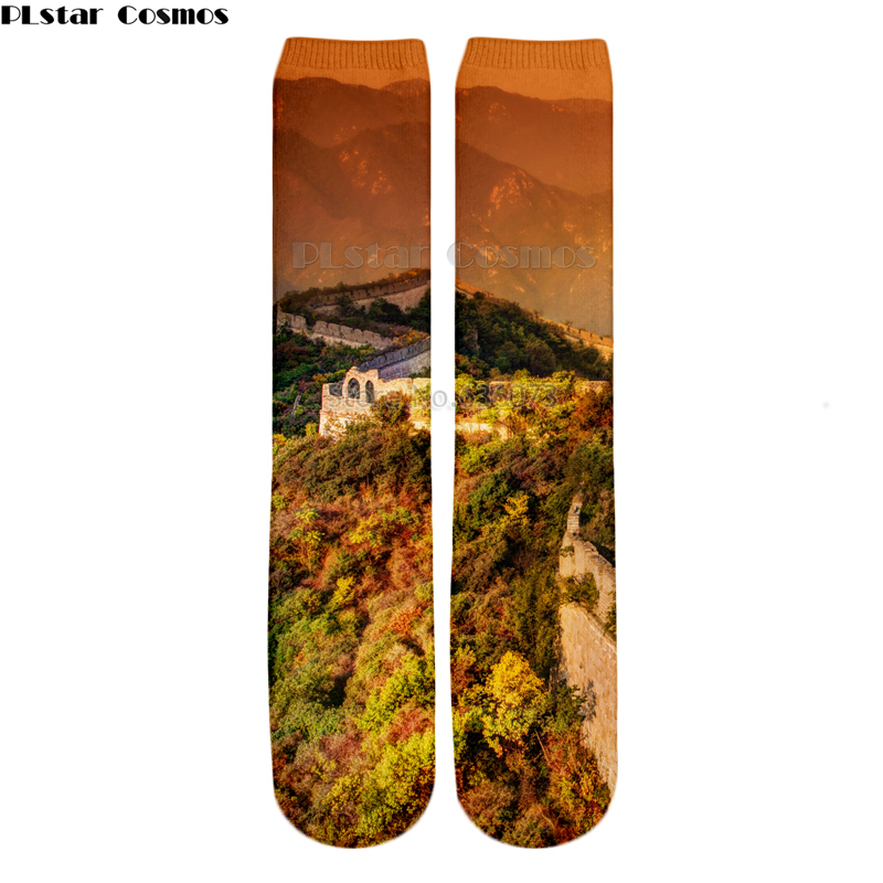 PLstar Cosmos 2018 New style Fashion Knee High Socks a moody evening at the great wall Nature Print 3d Men's Women's Sock 1