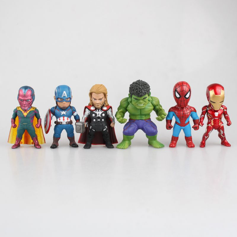 NEW hot 6pcs/set 9cm iron Man Thor Hulk Spiderman Vision Captain America Avengers action figure toys Christmas gift doll new moive the avengers american captain hulkbuster hulk action figure cute version 12cm height toys collection models kids gift