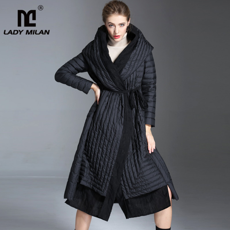 Women's Autumn Winter Runway   Down     Coats   Hooded Collar Patchwork Long Sleeves Zipper Closure White Duck   Down   Parkas Outerwear