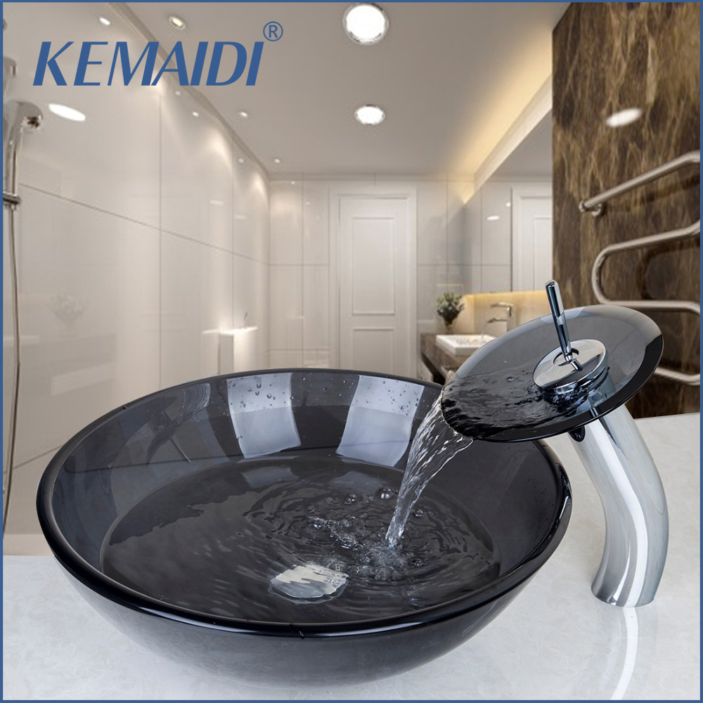 KEMAIDI New European Style Bathroom Washbasin Tempered Glass Basin Sink  With Faucet With Pop Up Drain