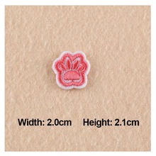 5Pcs Iron Patches For Clothing Pink Dog Footprints Embroidery 2.0x2.1cm Small Patches For Apparel Bags DIY Accessories(China)