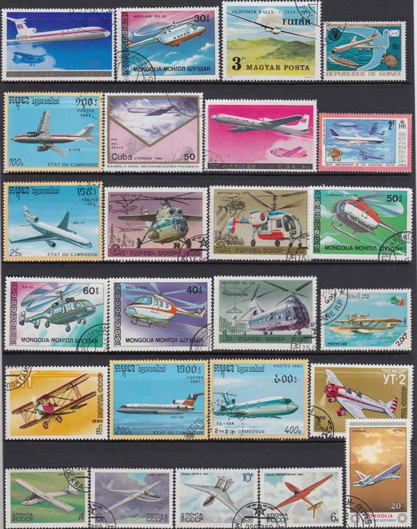 Image 2 - Plane , 250 Pieces / Lot No repeat  , Unsed Postage Stamps With Post Mark From World Wide  For Collecting-in Stamps from Home & Garden