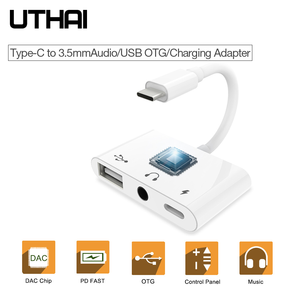 UTHAI C33 Type-C To 3.5mm Audio USB Adapter For PD Fast Charge OTG Connector Multi Function USB C Converter