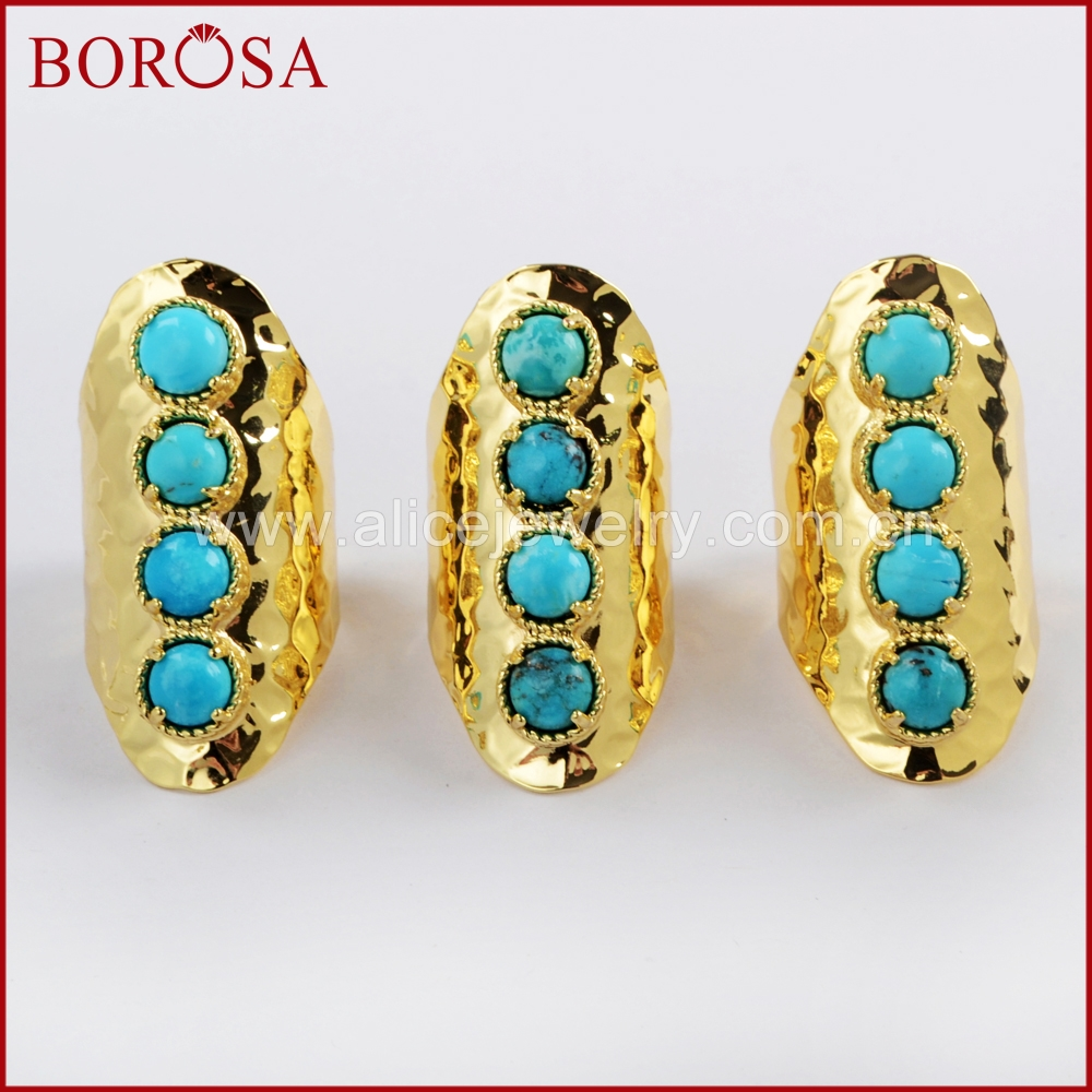 BOROSA Fashion Jewelry 5Pairs Gold Color Round Four Natural Turquoises Band Ring Natural Blue Howlite Ring