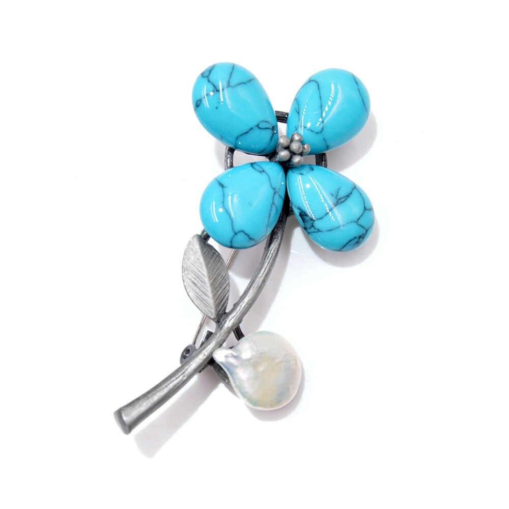 CINDY XIANG Nuovo Arrivo 5 Colori Scelgono di Pietra Del Fiore Spille per Le Donne Fresco-acqua Perla Elegante Spilla Spille Vintage cappotto Broch