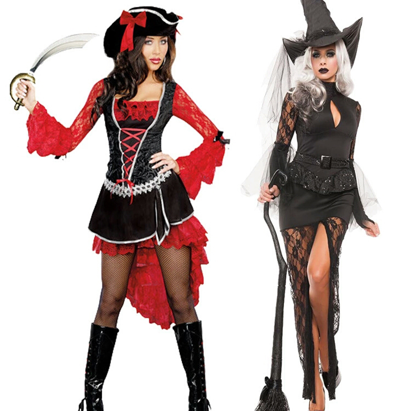 New Sexy Halloween Costumes Dress Women's Dress Adult Carnival Night Uniform Pirate Demon Dress Red Witch Witch Uniform