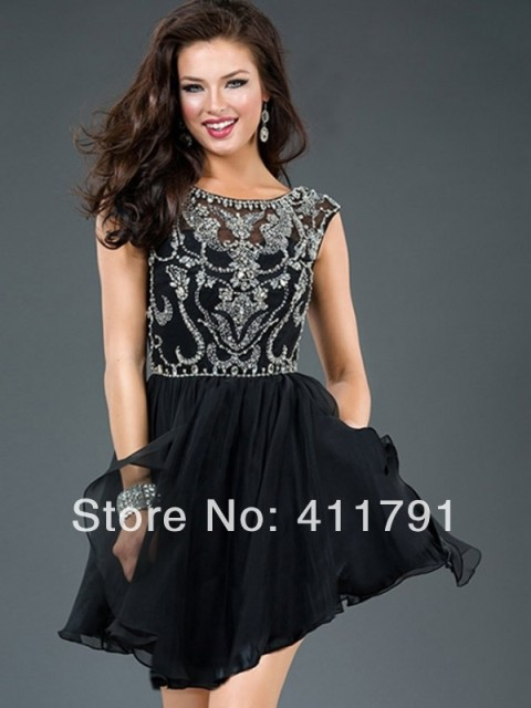 Short Black Beaded Dress