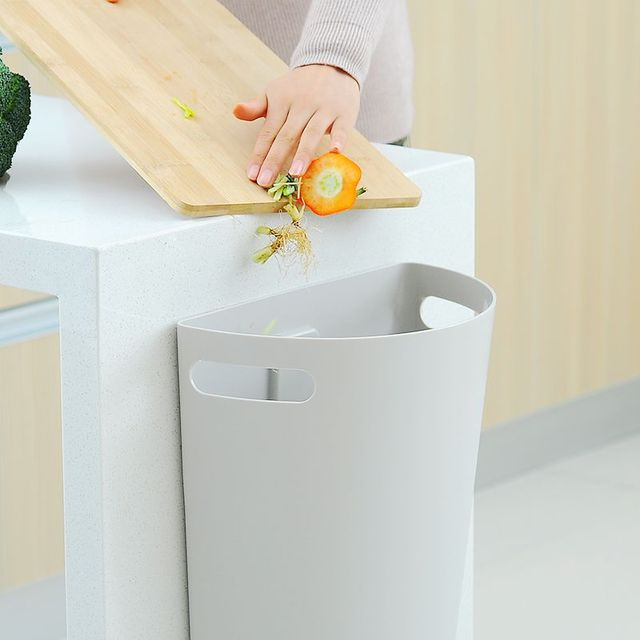 New Kitchen Cabinet Door Hanging Wall Mounted Semi Circle Trash Garbage Bin Can Rubbish Container