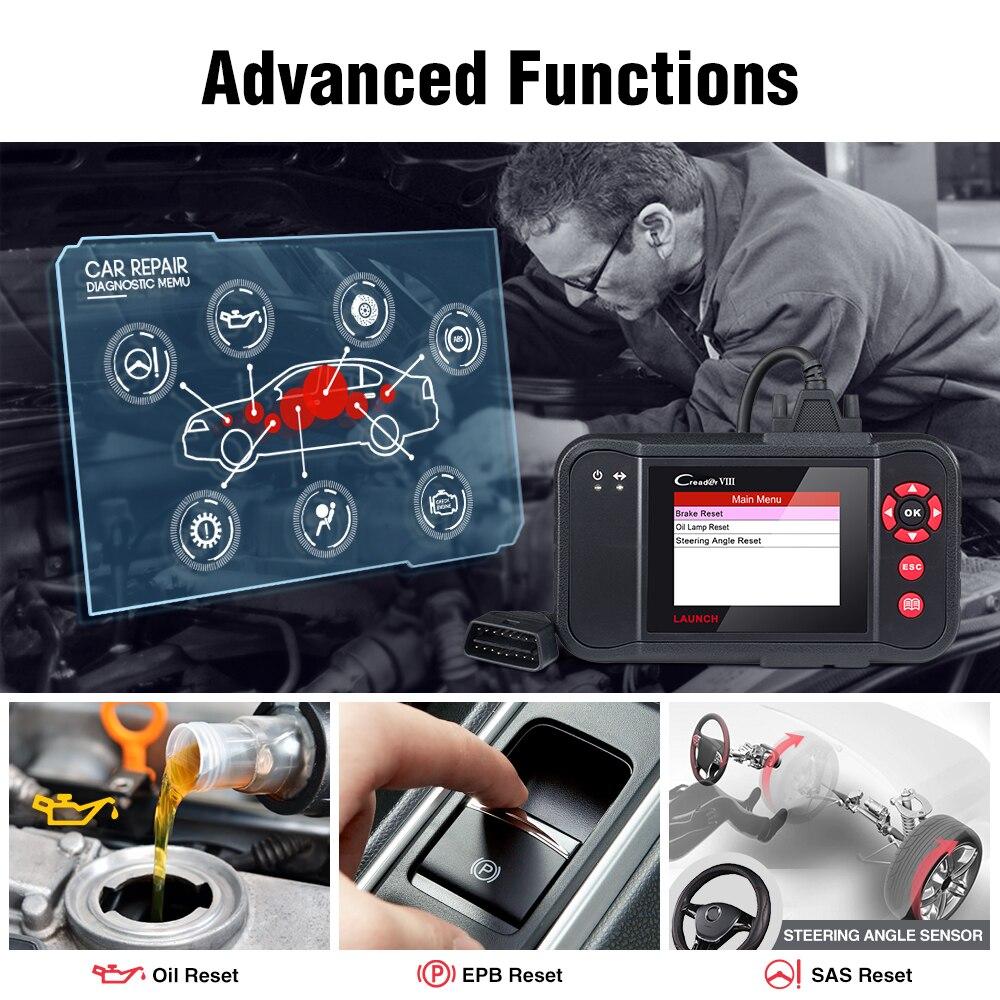 Image 2 - LAUNCH X431 Creader VIII OBD2 Engine ABS Airbag SRS AT diagnostic tool OBDII EOBD Code Reader EPB Oil SAS reset PK crp129 crp123Code Readers & Scan Tools   -