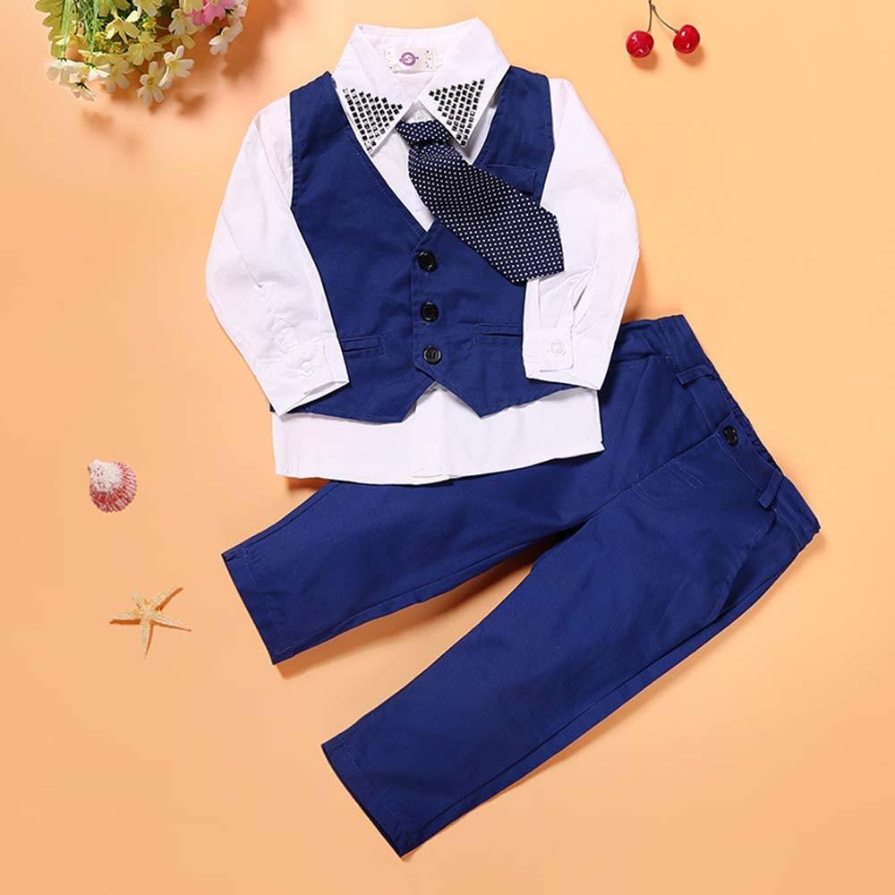 Mavi oğlanlar Blazer kostyumu Uşaqlar Vest + Qalstuk + Bluz + - Uşaq geyimləri - Fotoqrafiya 2