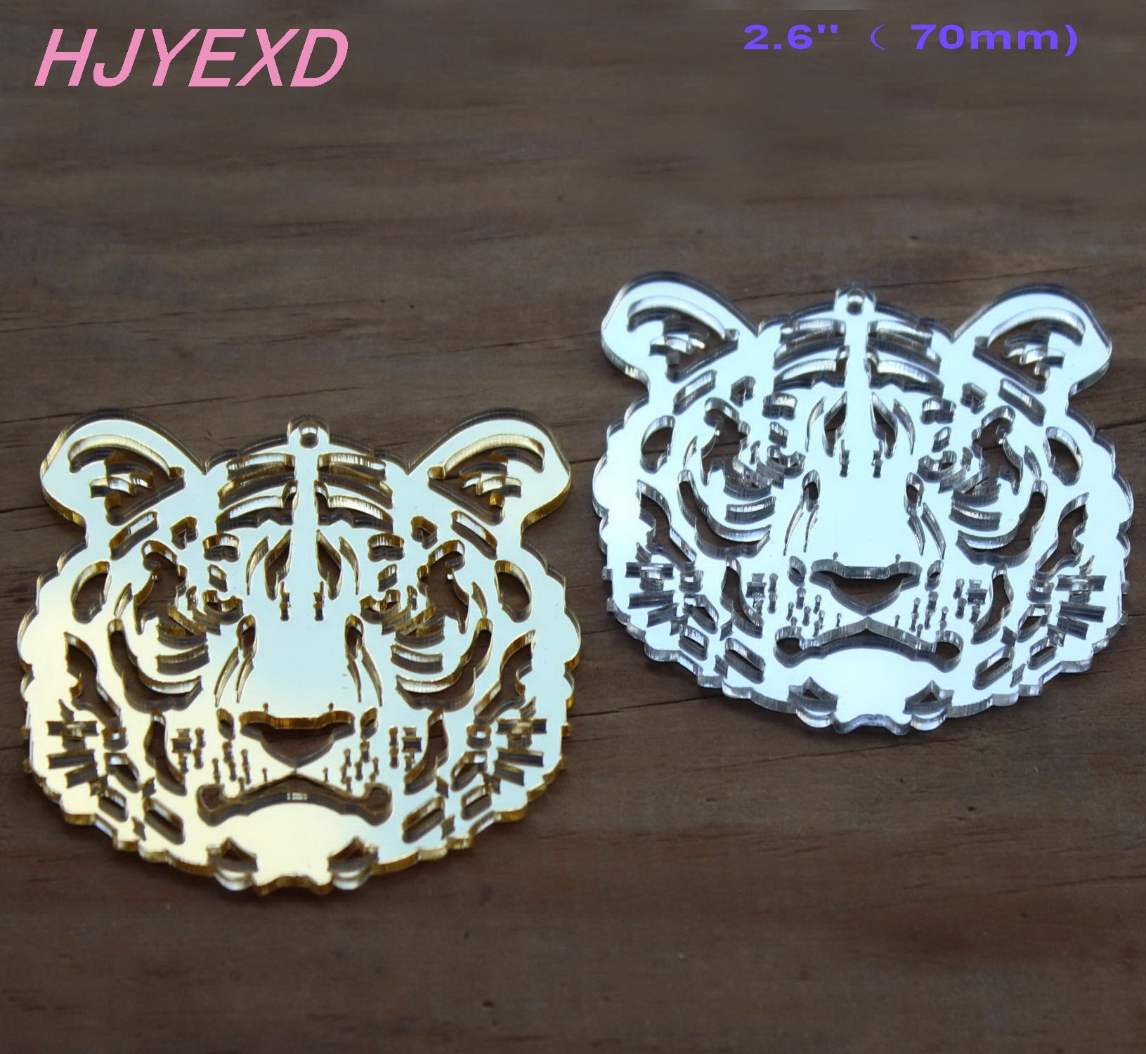 70mm Acrylic Tiger Earrings Jewelry Accessories Gold Mirror, Silver Mirror Laser Cutout 2.8