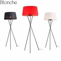 Modern Led Floor Lamps Fabric Lampshade Nordic Standing Tripod Floor Light for Living Room Bedroom Bedside Lamp Home Art Decor