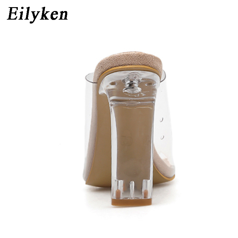 Image 5 - Eilyken New Women Slippers PVC Crystal Square heel Transparent Clear High heels Summer Slippers Sandals Pumps 11cm size 35 40-in Slippers from Shoes