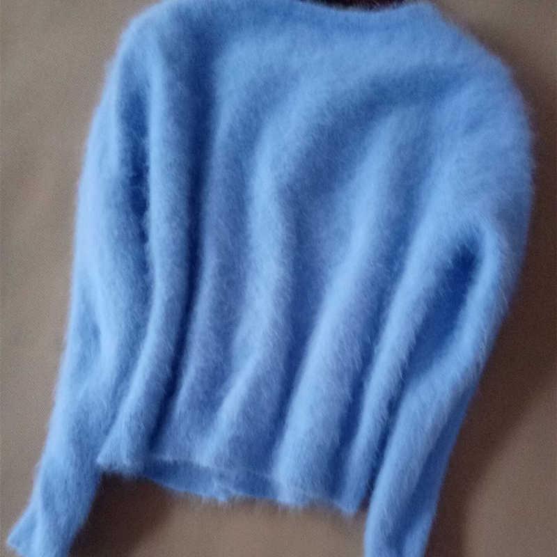 2018 осень-зима модные женские туфли норковый кашемировый кардиган свитер женский o-образный вырез вязаный длинношерстные норковый кашемировый свитер, топы