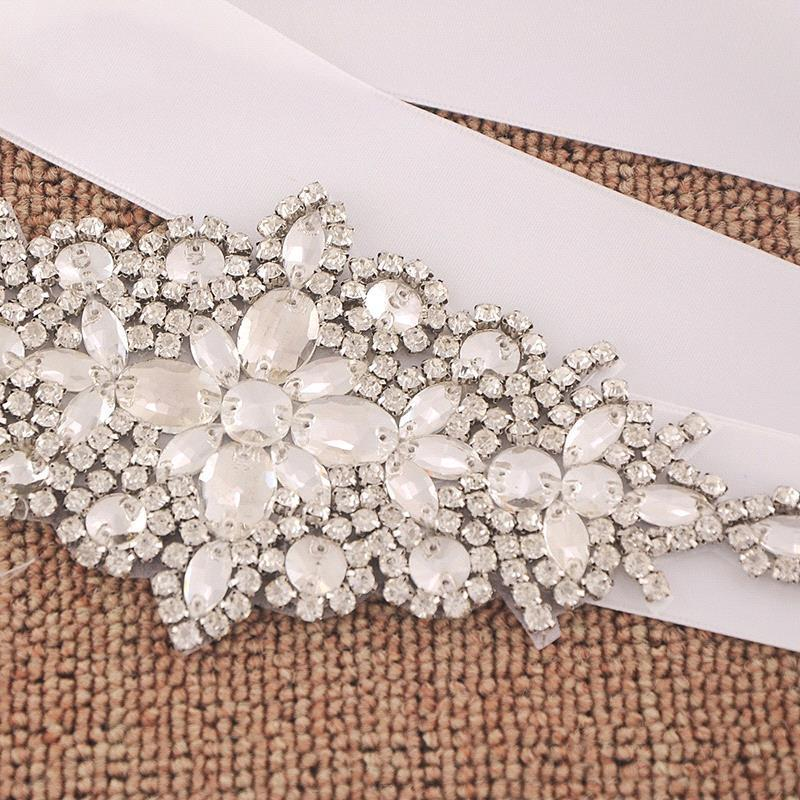 White Ivory Rhinestone Wedding Dress Belt Sash Crystal Bridal Belt With Satin Ribbon Wedding Accessories