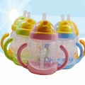 Practical 280ml Cute Kids Children Baby Cup Learn Feeding Drinking Water Straw Handle Bottle Training Cup For Baby 5 Colors