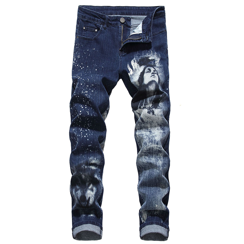 Sokotoo Men's Beauty Wolf 3D Printed Jeans Slim Painted Blue Stretch Denim Pants