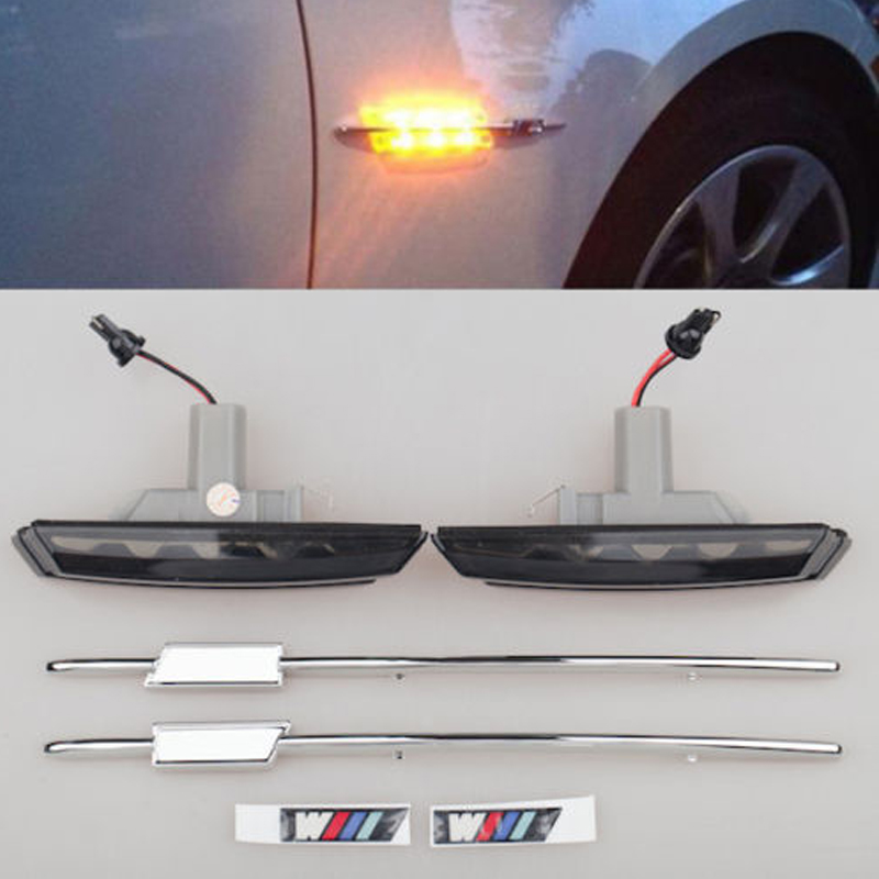 Car Lights LED Signal Lamp For BMW E46 3 Series 1998-2001 With M Logo Style Smoke lens side marker turn indicator free shipping 2x led turn signal side light auto parts led side marker car accessories with m logo for bmw e46 02 05 4d 5d