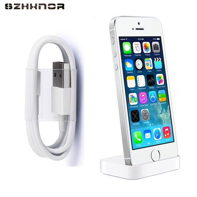 SZHXNOR Charger Dock Desk Charger Sync Stand for iPhone 7 8 plus 6 6s X 5 5s SE + 8pin USB charging cable For iphone X 8
