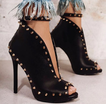 New European pop rivets high-heeled Street fish mouth cool boots sexy zg1063-68