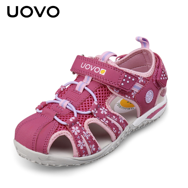 UOVO Italy Original 2017 New Summer Girls Sandals Closed Toe Anti-Collision Shoes For Little Girls Beach Shoes EUR SIZE 26- 36 camel men s outdoor anti collision toe cap cowhide casual beach sandals summer breathable river sandal male a622309222