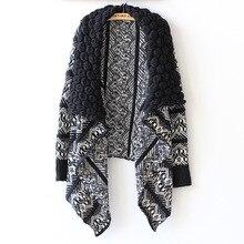 Perandorl Cardigan Women Fashion irregular casual Sweater Long-sleeve large lapel Knitting Sweaters Cardigans cape outerwear