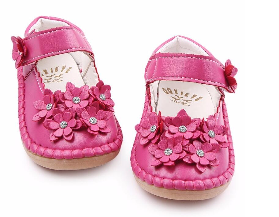 High Quality Rubebr Sole Beautiful Crystal Flower PU Leather Girl Shoes Baby moccasins Shallow Baby Girl Princess Shoes 1-3 Year