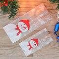 50 шт./лот рождественские пакеты для упаковки выпечки, мультяшный Рождественский мешок для конфет с Санта Клаусом, снеговиком, мешок для хран...