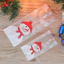 Lote de 50 unidades de bolsas de embalaje para hornear Feliz Navidad, dibujos animados de Papá Noel, muñeco de nieve, bolsa para dulces, galletas y dulces
