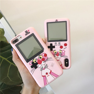Full Color Display Phone Case For iPhone 6 6S 7 8 Plus Cover Retro Game Console Case For iPhone 11 Pro X XS XR Max Pink Panther(China)