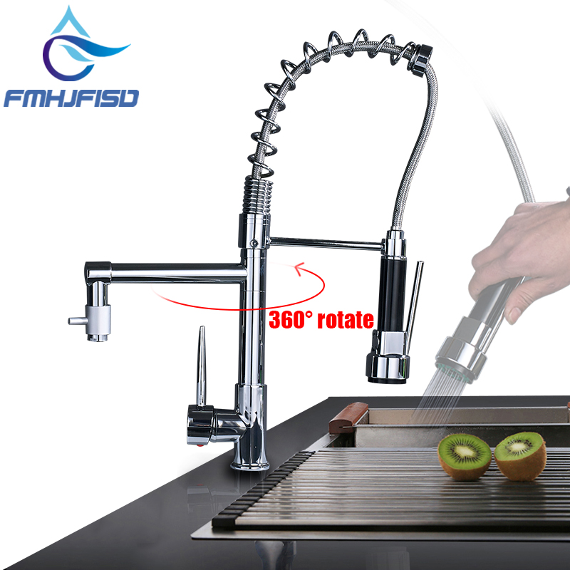 Hot Sale NEW Pull Out Spring Kitchen Faucet Chrome Brass Vessel Sink Mixer Tap Dual Sprayer Swivel Spout Hot And Cold Mixer Tap цены