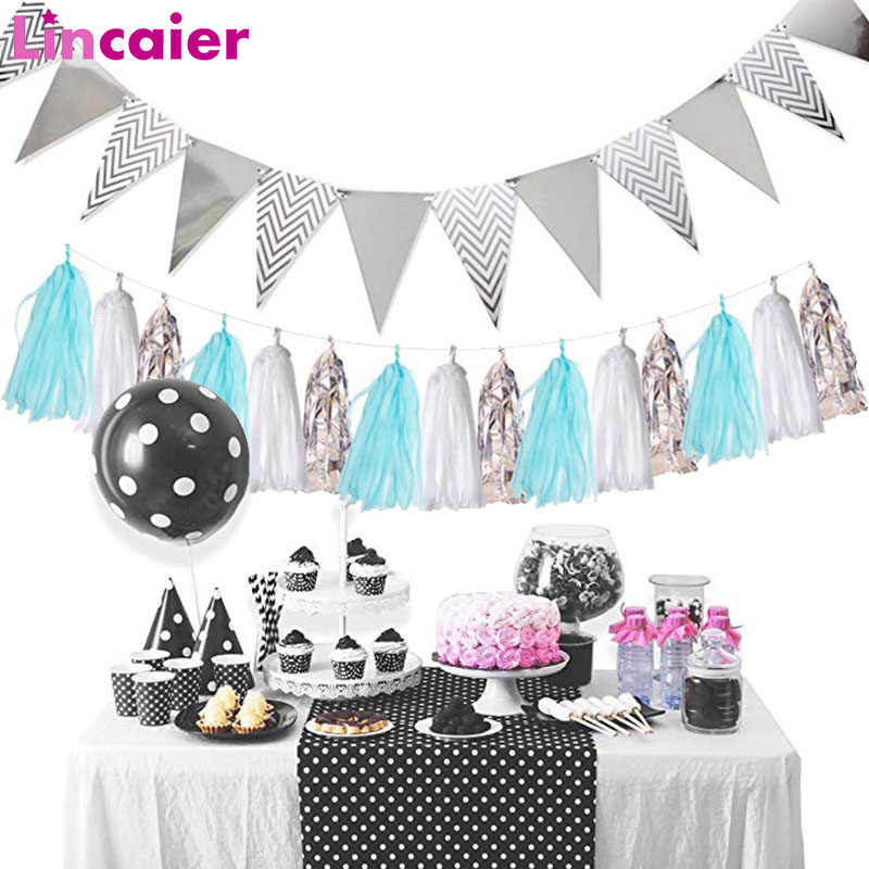 Lincaier Pennant Banner Happy Birthday Party Decorations Kids Babyshower Garland Adult Rose Gold Silver 12 Flags Nurser Supplies