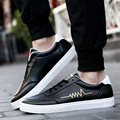 2017 New Spring And Autumn Men Shoes Flats Canvas Lace-Up Blue/ Black/White PU Casual Zapatos Patchwork Hombre Men Shoes