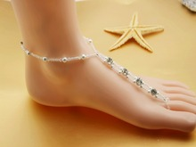 1 single pcs sexy  rhinestone barefoot sandals silver plated pearl slave anklet chain sandbeach wedding foot jewelry LK-AK1005