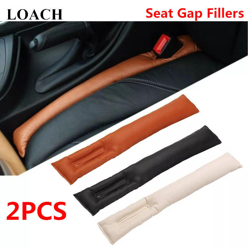 2PCS Universal PU Leather Front Car Seat Gap Fillers Stopper Leak Proof Pad Slot Spacer Mat Cushion Cover Leakproof Protector