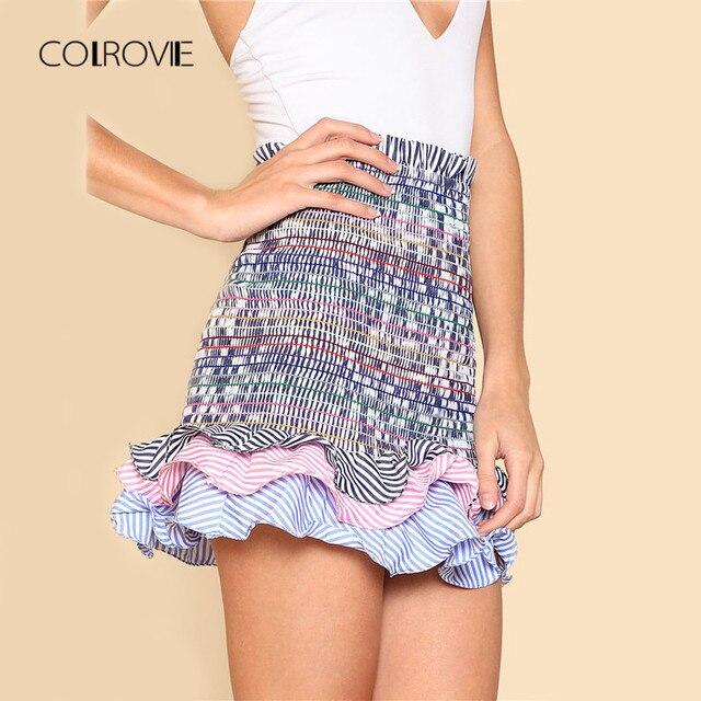e8c578e8723 COLROVIE Striped Tiered Ruffle Hem Smock Skirt 2018 New Summer High Waist  Casual Women Skirt Frill Pleated Skirt Mini skirt