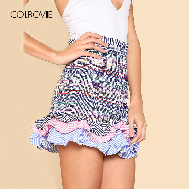 COLROVIE Striped Tiered Ruffle Hem Smock Skirt 2018 New Summer High Waist Casual Women Skirt Frill Pleated Skirt Mini skirt