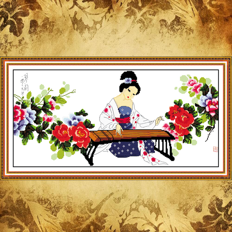 JoySunday crossstitch neeldework kit Rhyme of lyre girl ancient China DMC14CT11CT livingroom bedroom babyroom factory wholesale