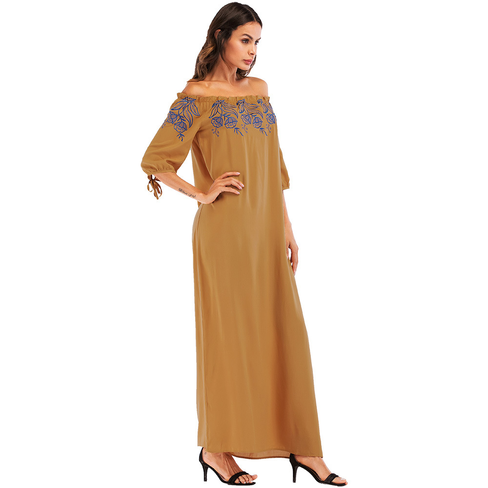 #187002 Hot Sell Muslim Women Fashion Slash Embroidered Off Shoulder Dress Middle East Robes Dubai Gowns Abaya
