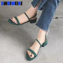 Women Sandals Suede Square Heels Peep Toe Buckle Strap High Quality Women s  Fashion Summer Shoes m671 3d583e4d9415