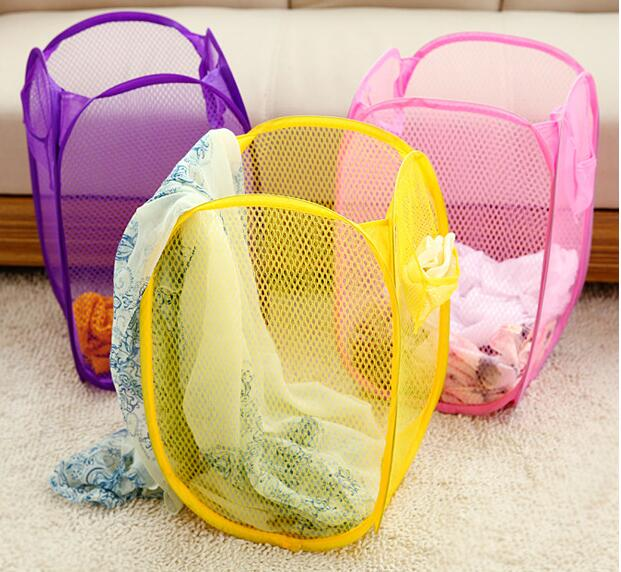 Candy Color Nylon Mesh Fabric Foldable Laundry Basket Household Dirty Clothes Bag Washing Storage Organization