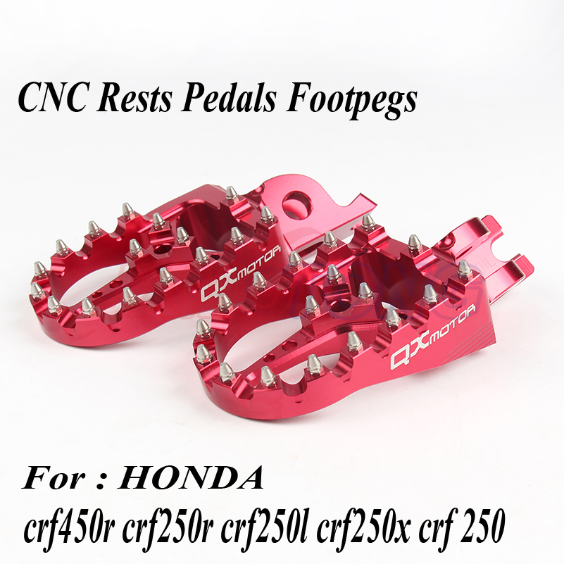 Red CNC Billet MX Foot Pegs Rests Pedals Foot pegs For Honda crf450r crf 450 crf250r