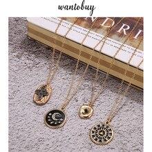 цена на Wantobuy Brand Ethnic Vintage Zinc Alloy Enamel Gold Rhinestone Necklace Geometric Moon Star Round Pendant Necklace Charm Party