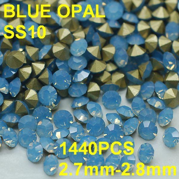 SS10 1440 шт./лот 2.7 мм-2.8 мм 3D Стразы Украшение Светло-Голубой Цвет Опал Горный Хрусталь для Платья Золотой Точка назад Ногтей